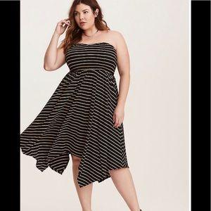 Torrid Striped smocked Handkerchief Tube Dress